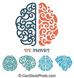 tänkande, etikett, hjärna, vektor, mänsklig, logo, eller
