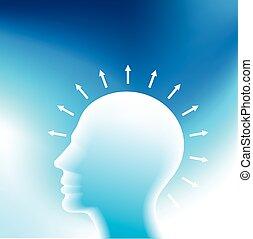 tänkande, färsk, huvud, idé, mänsklig