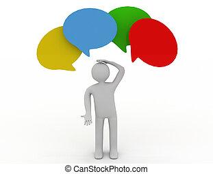 tänkande, fyra, anförande, 3, bubbla, man