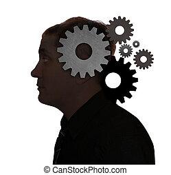 tänkande, huvud, man, idé, utrustar