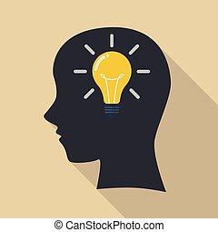 tänkande, idea., huvud, mänsklig, färsk
