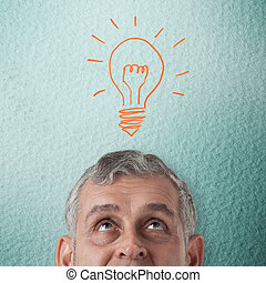 tänkande, man, idé, affär, skapande