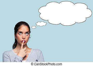 tänkande, tanke, bubblar, kvinna