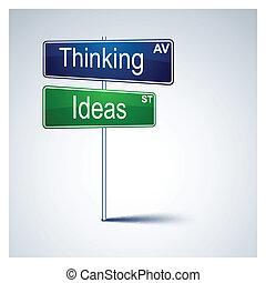 tänkande, väg, idéer, riktning, skylt.
