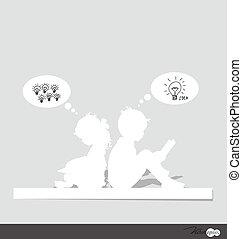 tänkande, vektor, illustration., child.