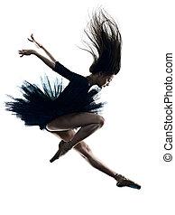 tänzer, ballett, silhouette, hintergrund, tanzen, freigestellt, weißes, frau, junger, ballerina