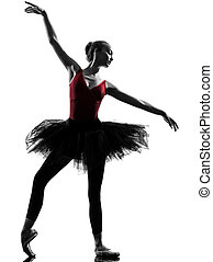 tänzer, ballett, silhouette, tanzen, frau, junger, ballerina