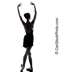 tänzer, ballett, wärmen, junge frau, silho, auf, dehnen, ballerina