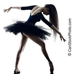 tänzer, junger, weißer hintergrund, ballett tanzen, freigestellt, silhouette, frau, ballerina