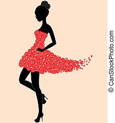 tänzer, m�dchen, in, kleiden, von, rosen