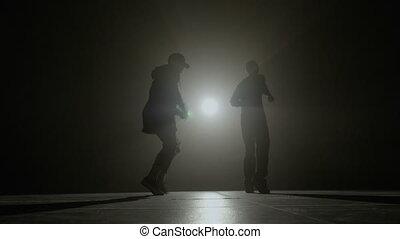 tänzer, mann, band, proben, a, synchronisiert,...