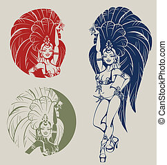 tänzer, samba, königin