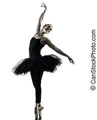 tänzer, silhouette, tanzen, freigestellt, frau, ballerina