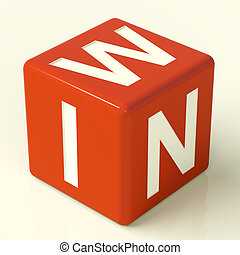 tärningar, vinna, röd, föreställa, triumfera, seger