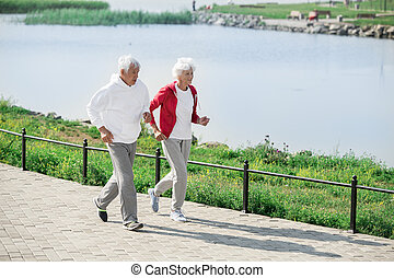 tätiger älterer, paar, jogging, per, see