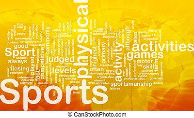 tätigkeiten, begriff, hintergrund, sport