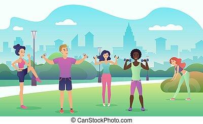 tätigkeiten, draußen, dehnen, illustration., leute, joga, park, wohnung, sport, vektor, design, fitness., fitness, draußen., öffentlichkeit, frauen