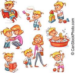 tätigkeiten, kind, routine, karikatur, satz, alltaegliches