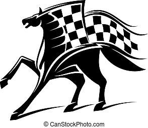 tävlings-, häst, brocket, emblem, flagga