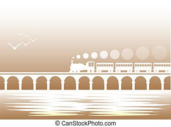 tåg, över, bro