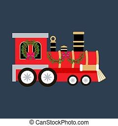 tåg, jul, illustration