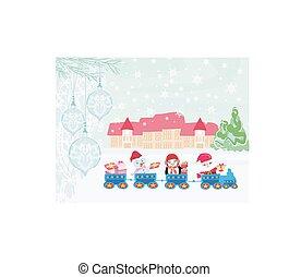 tåg, jul, jultomten