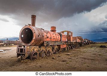 tåg, kyrkogård, uyuni, bolivia