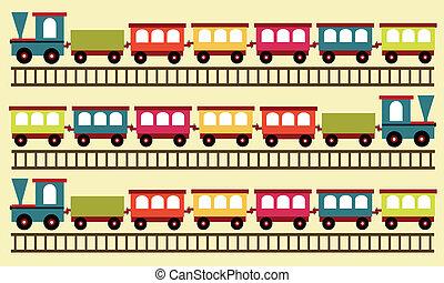 tåg, mönster, leksak, bakgrund