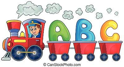 tåg, med, tre, breven