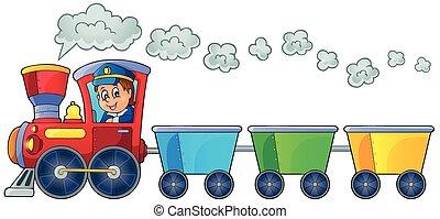 tåg, med, tre, tom, vagnar