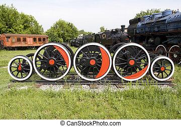 tåg, parkera