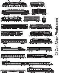 tåg, sida, silhouettes