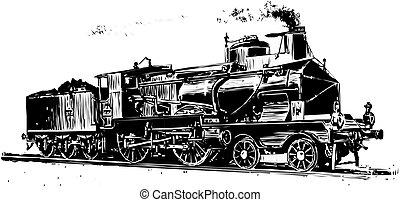 tåg, silhuett