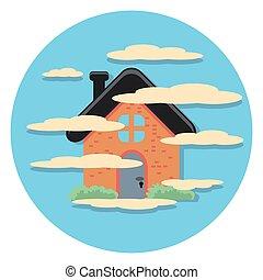 tåge, ikon hus, cirkel, lejlighed
