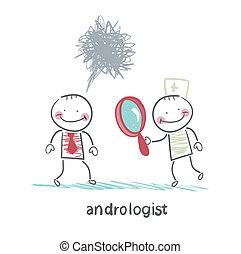 tålmodig, andrologist, titta glas, genom, förstorar