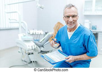 tålmodig, bak, dental, klinik, likformig, tandläkare, skrivplatta, senior