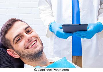 tålmodig, dental, klinik, le