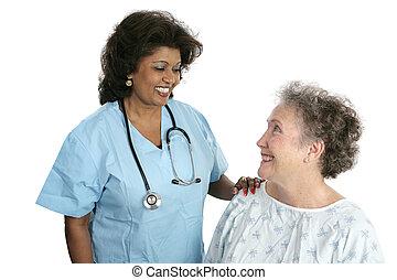 tålmodig, förhållande, läkare