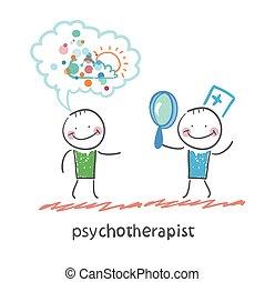 tålmodig, psykoterapeut, titta glas, genom, förstorar, drömmar