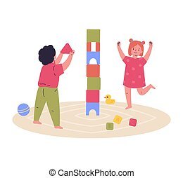 tårn, bygge, børn, cubes., spill, sammen