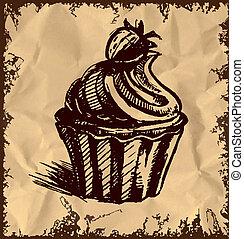 tårta, årgång, krämig, bakgrund, kopp