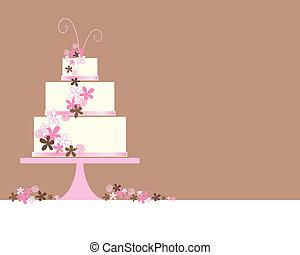 tårta, abstrakt, bröllop