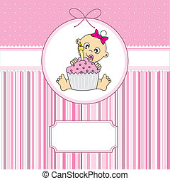 tårta, baby flicka, födelsedag