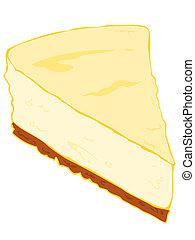 tårta, cheesecake, slice.