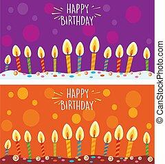 tårta, födelsedag, candles., kort