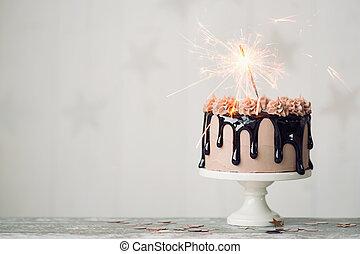 tårta, födelsedag, choklad
