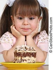tårta, flicka, barn