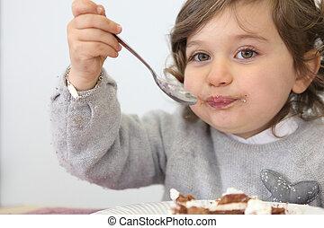 tårta, flicka, stycke, äta, ung