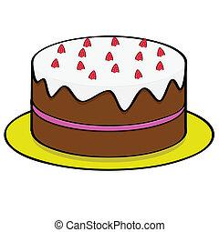 tårta, jordgubbe, choklad