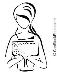 tårta, kvinna, tjänande
